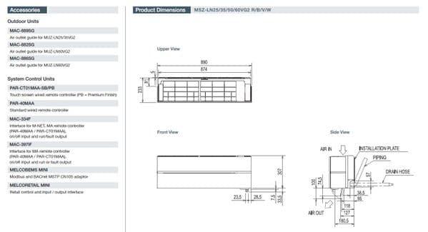 Mitsubishi Electric Air Conditioning MSZ-LN35VG2 3.5Kw/12000Btu R32 Heat Pump Wall Install Pack